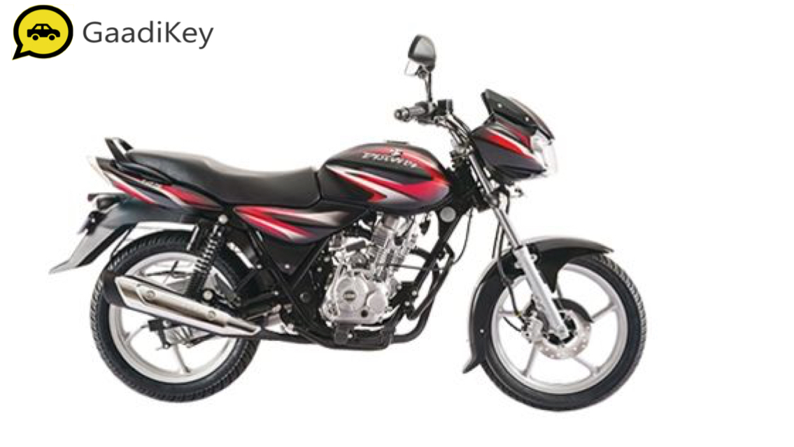 2019 Bajaj Discover 125 in Ebony Black with Deep Red Graphics color