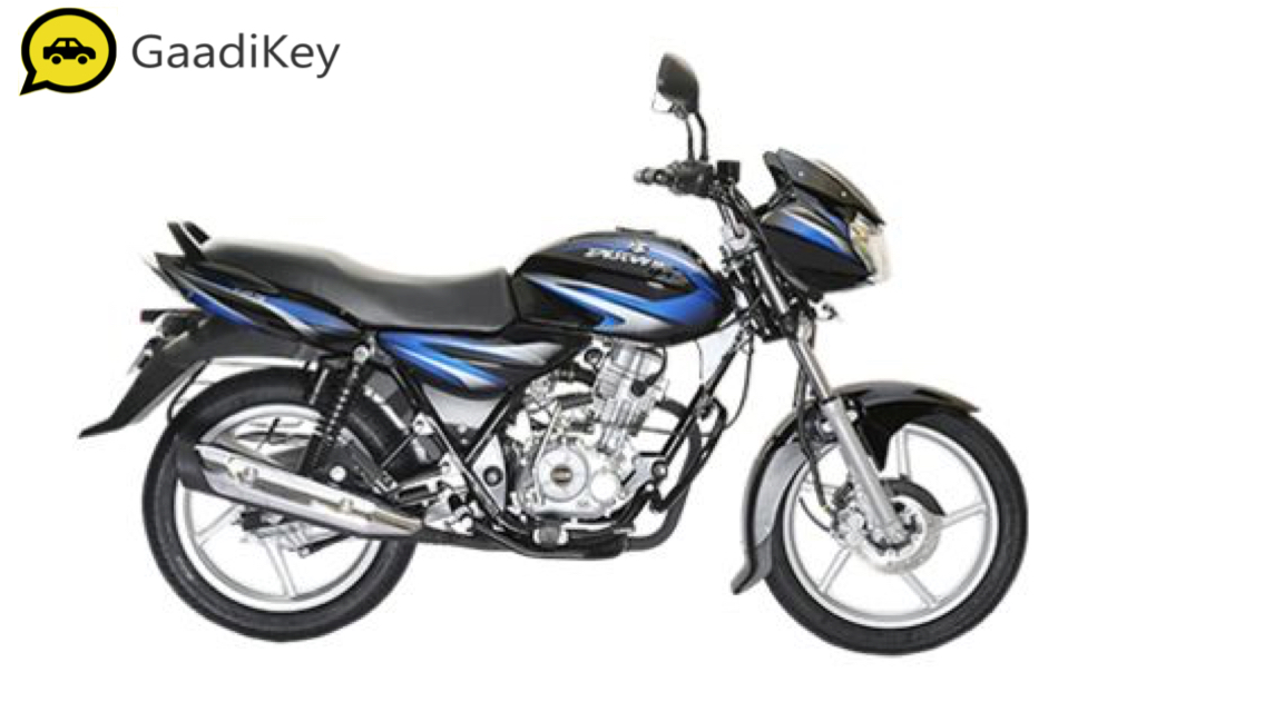 2019 Bajaj Discover 125 in Ebony Black with Blue Graphics color