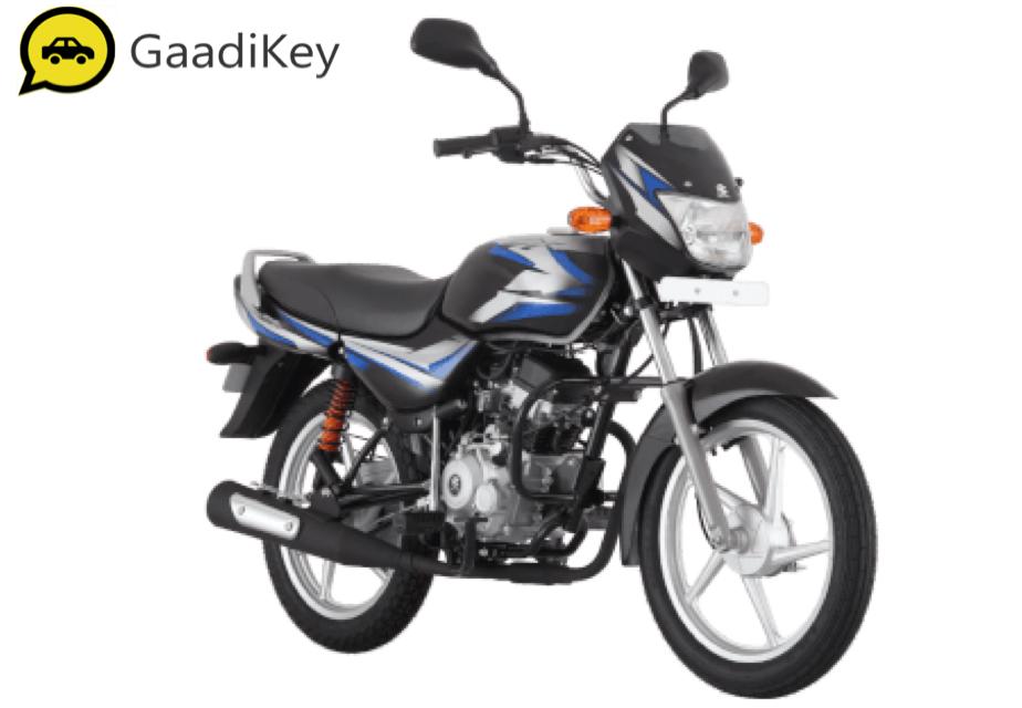 2019 Bajaj CT100 in Ebony Black (Blue Decals) color