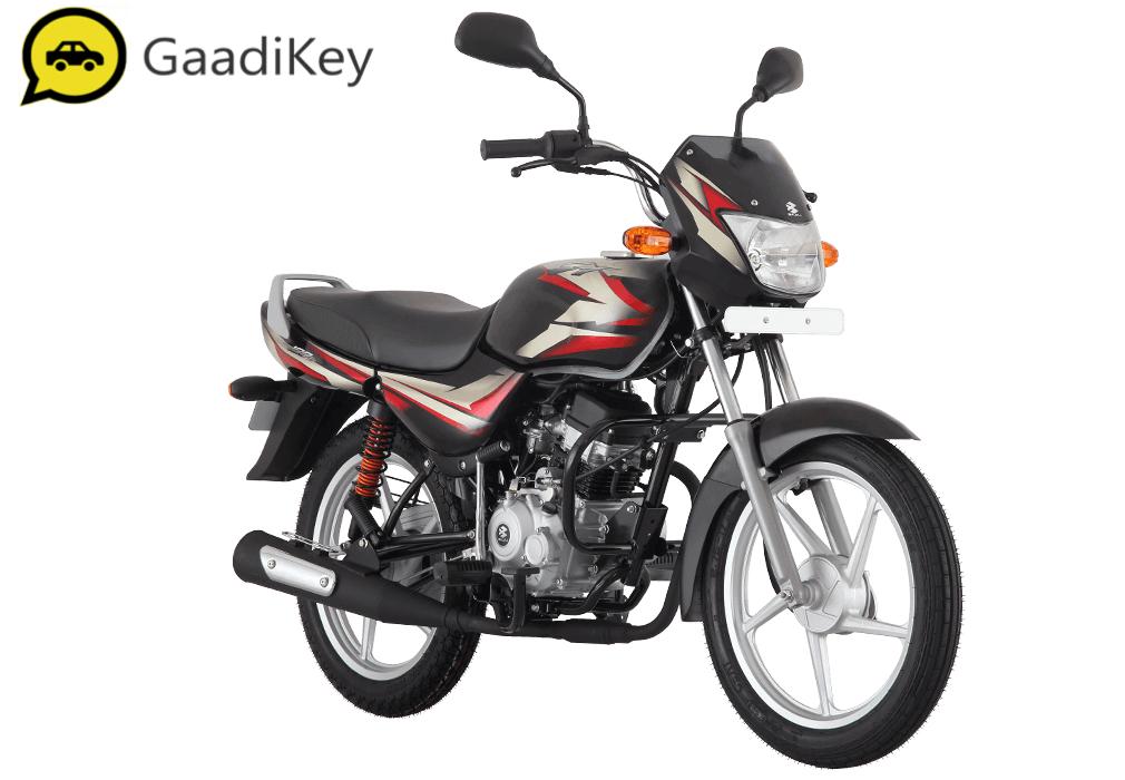2019 Bajaj CT100 in Ebony Black (Red Decals) color