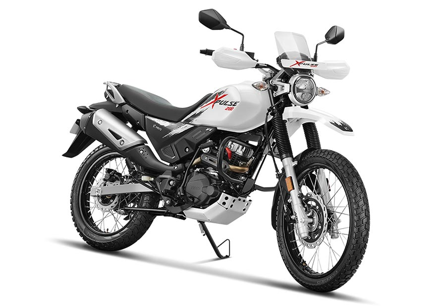 Hero XPulse 200 White Color. New 200cc Hero XPulse 200 motorcycle in White Color option