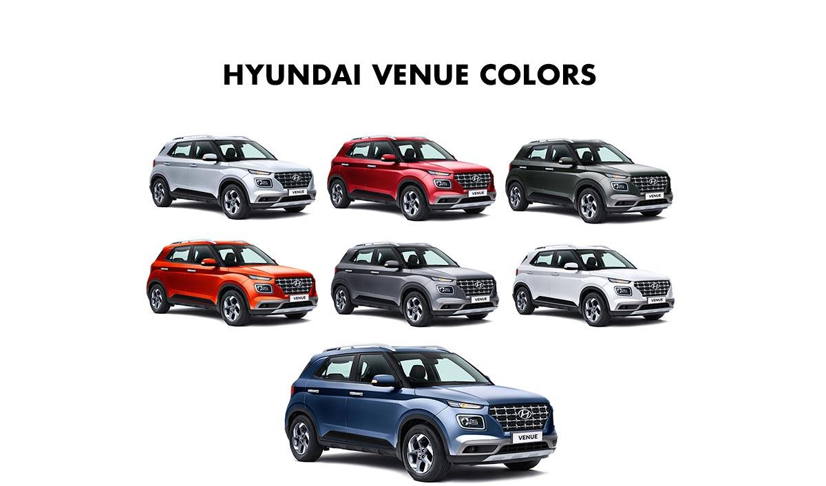Hyundai Venue Colors Red White Silver Blue Orange