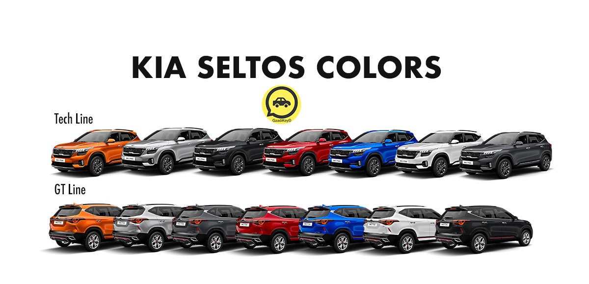 Kia Seltos Colors: Orange, Silver, Black, Red, Blue, White, Grey