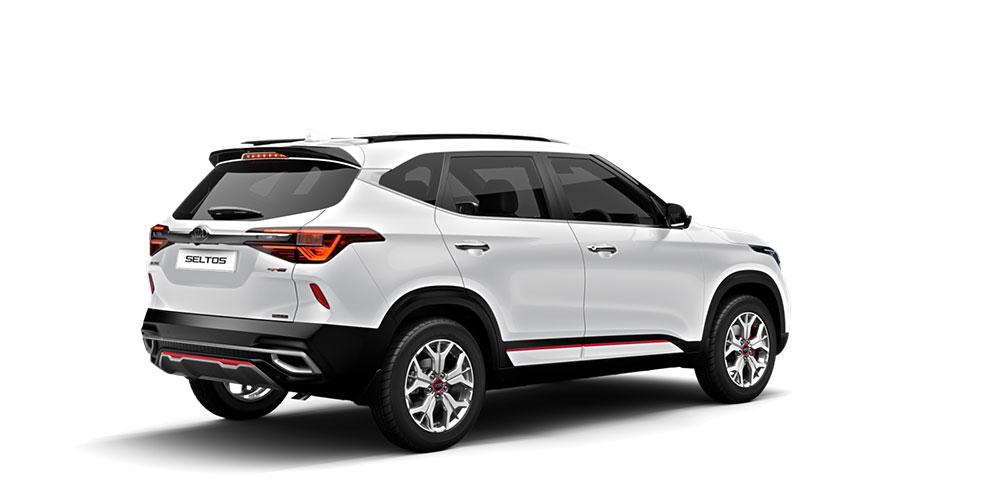 New 2020 Kia Seltos Glacier White Pearl Color option - Kia Seltos 2020 White Pearl color variant GT Line - White Seltos 2020 model