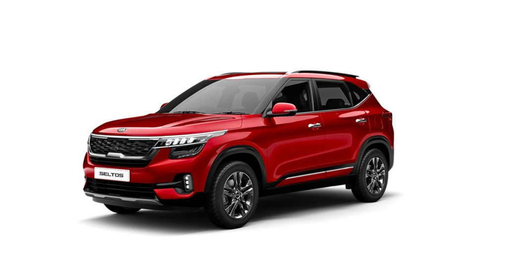 2020 Kia Seltos Red Color - Kia Seltos 2020 model in Intense Red Color Option available in Tech Line