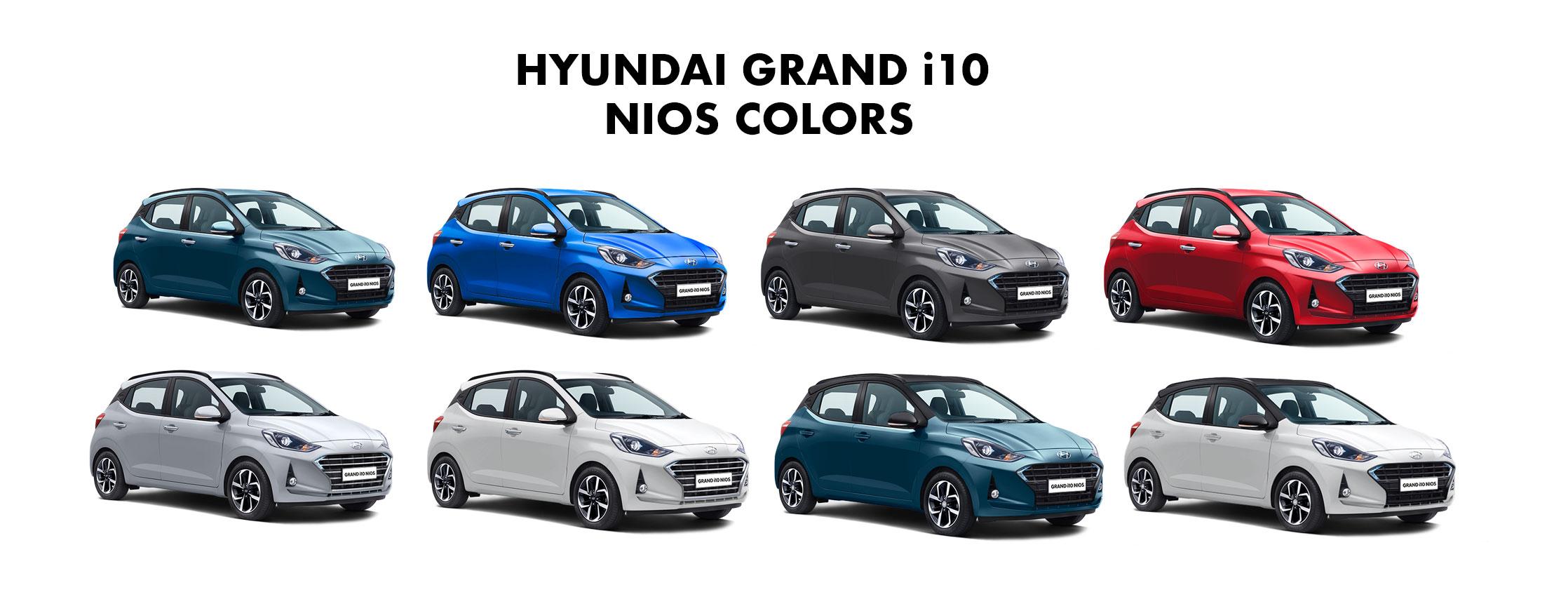 Hyundai Grand I10 Nios Colors Red Grey Silver White