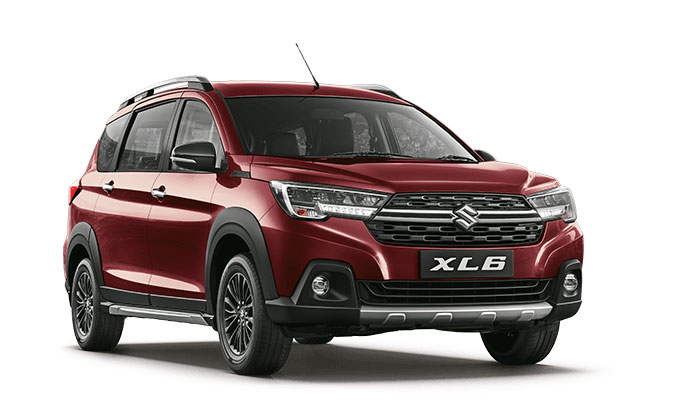 New Maruti XL6 Auburn Red color option. 2019 Maruti Suzuki XL6 Red color