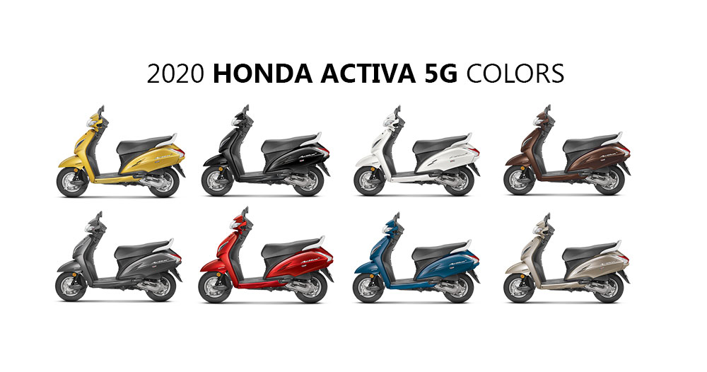 Activa 5G 2020 Model Colors - New 2020 Honda Activa 5G Colours - All Colors and photos