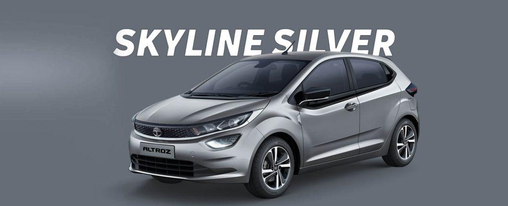 Tata Altroz in Silver color. All new Tata Altroz Skyline Silver colour option