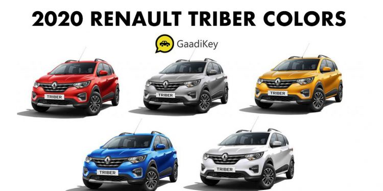 2020 Renault Triber Colors Blue Silver White Red Mustard Gaadikey
