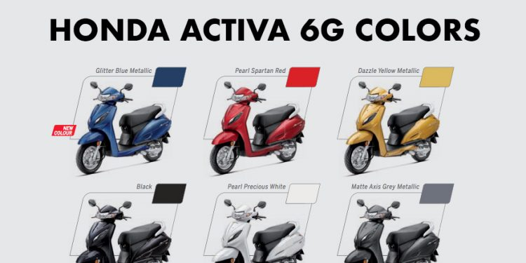 Honda Activa 6g Colors Blue Red Yellow Black White Grey Gaadikey