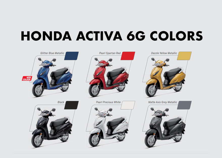 Honda Activa 6g Colors Blue Red Yellow Black White