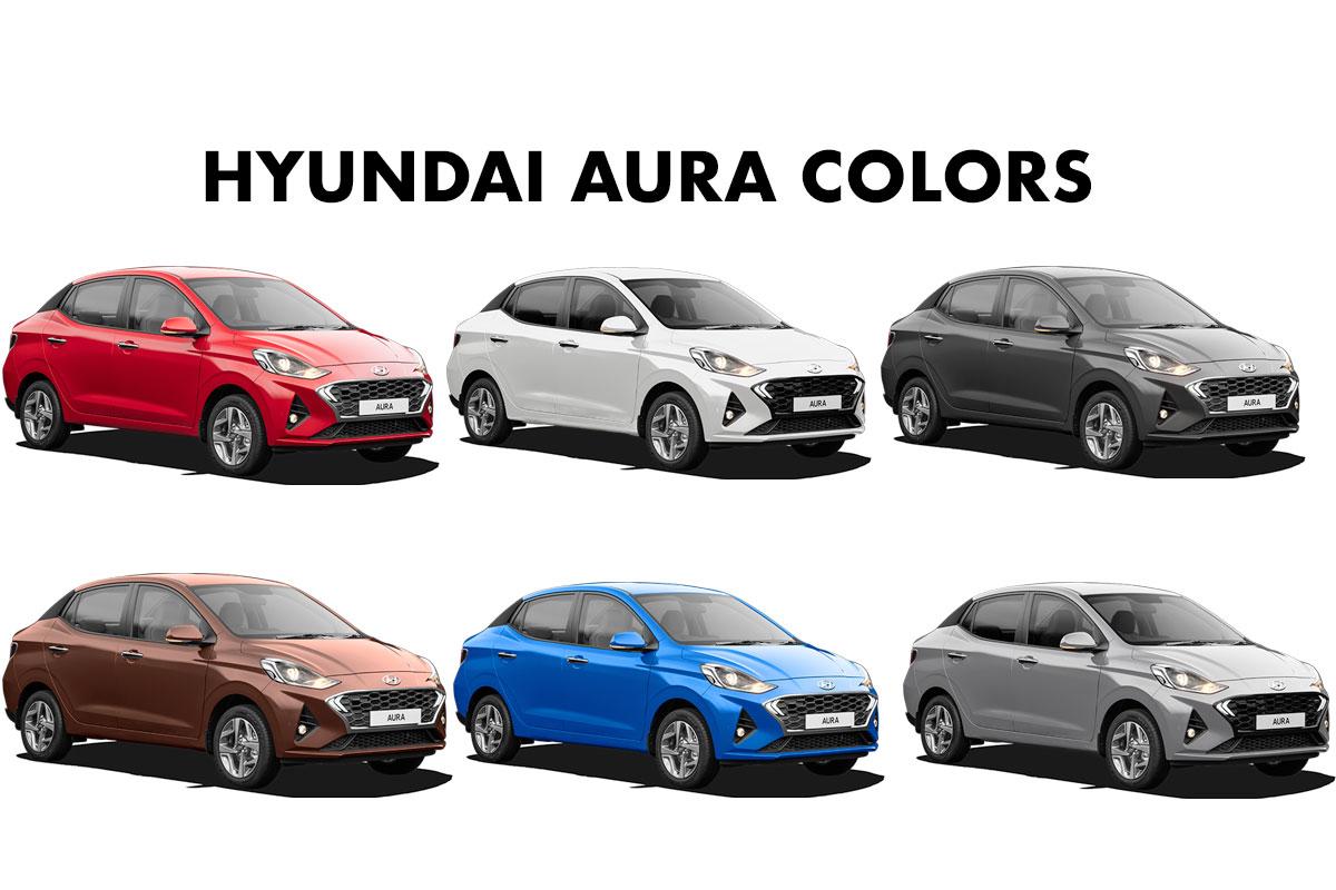 Hyundai Aura Colors Brown White Silver Grey Red Blue Gaadikey