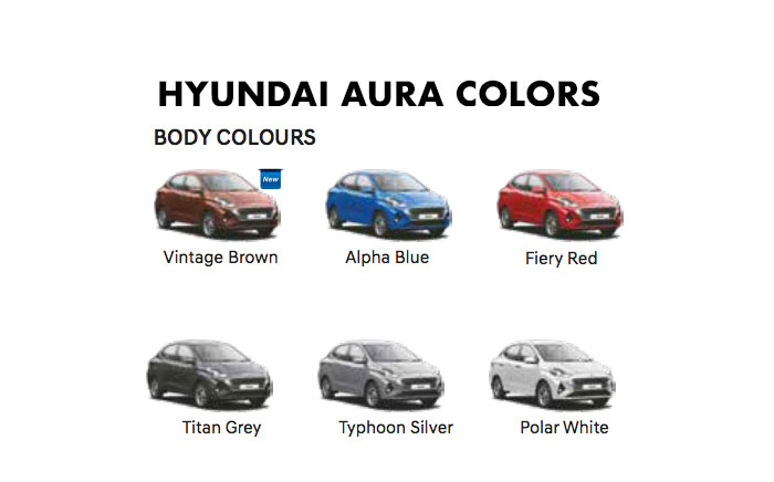 Aura all colors - hyundai aura 2020 colors