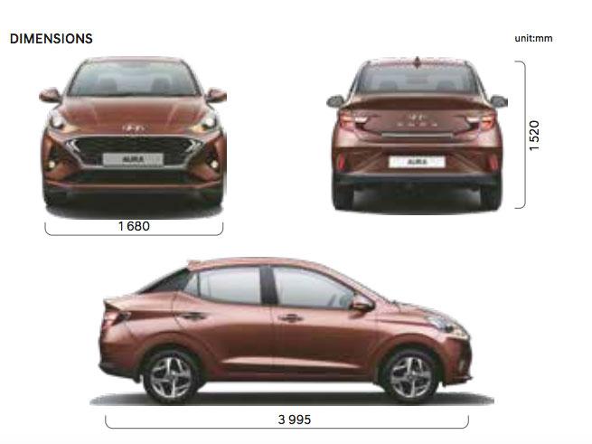 Hyundai AURA Dimensions - Length, Height, width, Wheelbase