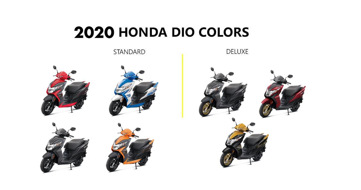 2020 Honda Dio Colors Red Blue Yellow Orange Grey Black
