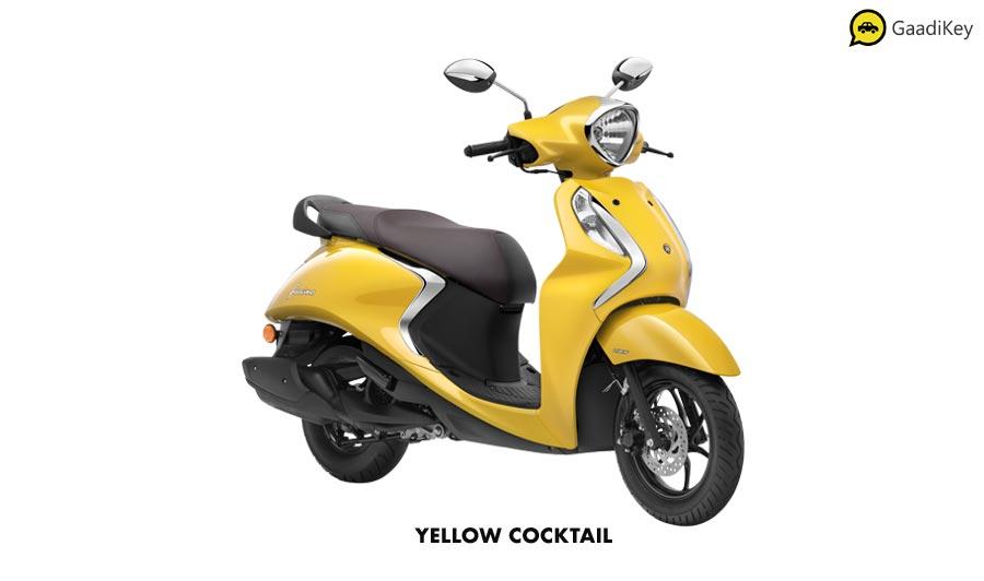 2020 Yamaha Fascino 125 Yellow Color - New Fascino Yellow Cocktail color