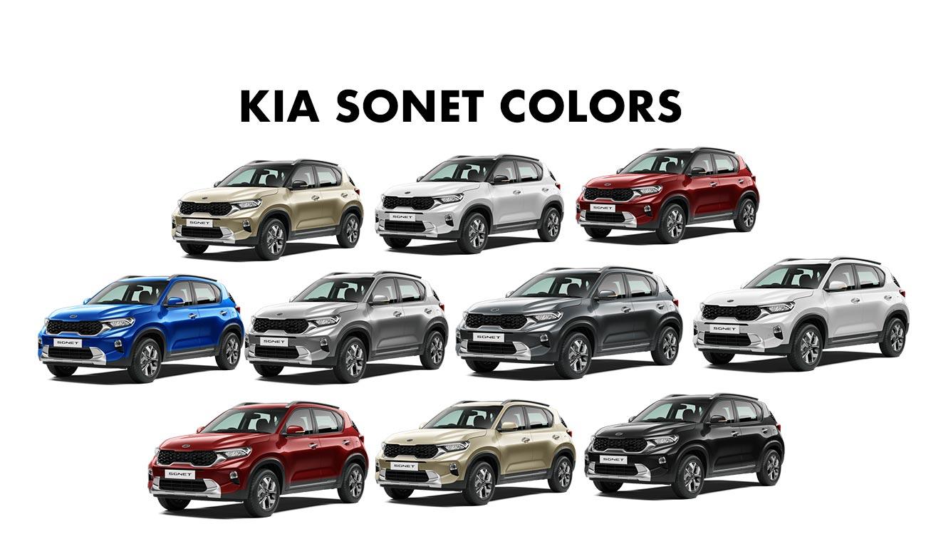 Kia Sonet Colors Gold Red Blue Silver Grey Black White Gaadikey