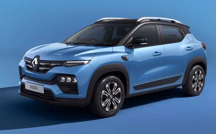 Renault Kiger Blue Color option. New Renault Kiger Caspian Blue Color.