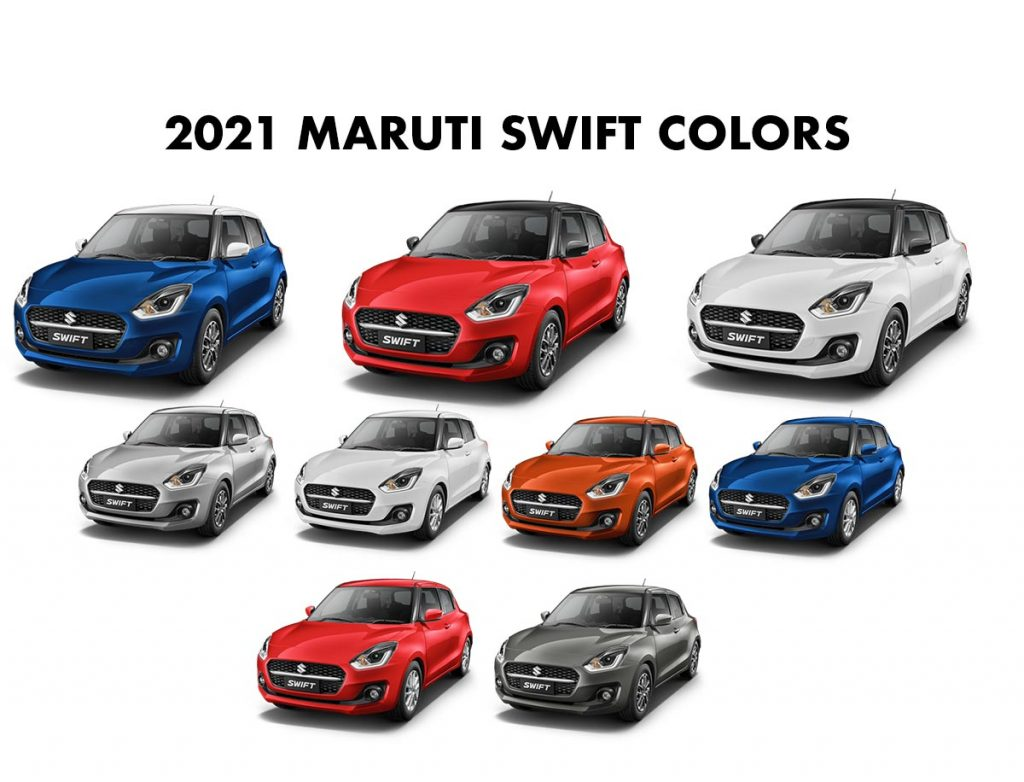 2021 Maruti Swift Colors - All Colors