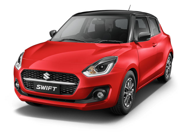 2021 Maruti Swift Solid Fire Red with Pearl Midnight Black color