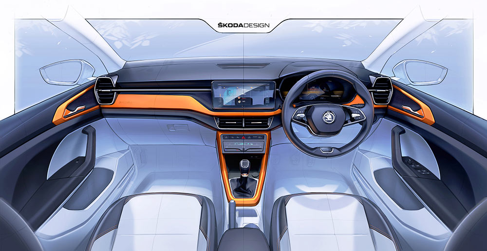 Skoda Kushaq Interior Design Sketches Revealed