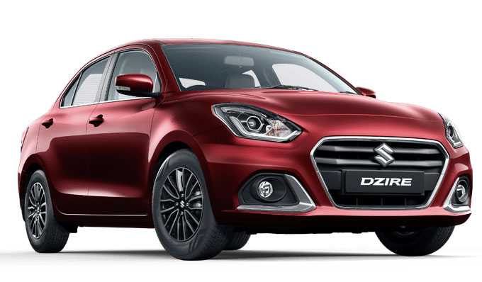 All New Maruti Dzire Red color variant - Phoenix Red 2021 Model